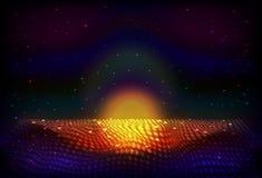 Fondo de la noche del espacio infinito del vector La matriz de brillar intensamente protagoniza con la ilusión de la profundidad  stock de ilustración