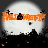 Fondo de la noche de Halloween con la silueta ilustración del vector