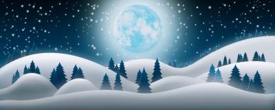 Fondo de la noche de la Navidad Los campos de nieve, la Luna Llena y el Starr stock de ilustración