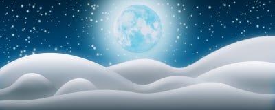 Fondo de la noche de la Navidad Los campos de nieve, la Luna Llena y el Starr ilustración del vector