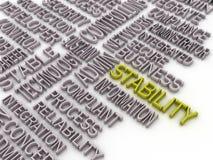 fondo de la nube de la palabra del concepto de la estabilidad del imagen 3d Red de la estabilidad Imagen de archivo