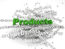 fondo de la nube de la palabra del concepto de productos del imagen 3d Imágenes de archivo libres de regalías