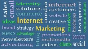 Fondo de la nube de la palabra del concepto del márketing de Internet imagenes de archivo