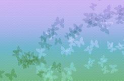 Fondo de la onda azul clara y verde con la mariposa Fotografía de archivo libre de regalías