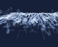 Fondo de la onda Rejilla de la ondulación ejemplo abstracto del vector estilo de la tecnología 3D Ejemplo con los puntos ilustración del vector