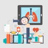 Fondo de la página web de las enfermedades respiratorias Ejemplo plano del vector stock de ilustración