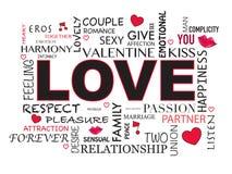 Fondo de la palabra del amor Fotos de archivo libres de regalías