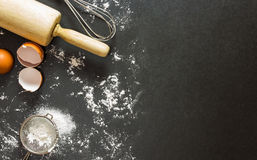 Fondo de la panadería, ingredientes que cuecen Foto de archivo libre de regalías