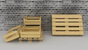 Fondo de la pared de ladrillo con las cajas de madera y las plataformas Fotos de archivo libres de regalías