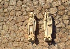 Fondo de la pared de piedra del monje y de la monja Fotografía de archivo