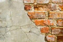 Fondo de la pared de ladrillo vieja del vintage con hormigón, textura resistida del fondo concreto atormentado de la pared de lad Imágenes de archivo libres de regalías