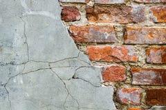 Fondo de la pared de ladrillo vieja del vintage con hormigón, textura resistida del fondo concreto atormentado de la pared de lad Imagen de archivo libre de regalías