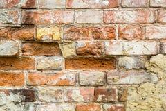 Fondo de la pared de ladrillo vieja del vintage con hormigón, textura resistida del fondo concreto atormentado de la pared de lad Fotografía de archivo libre de regalías