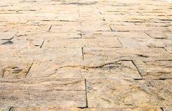Fondo de la perspectiva: Piso de piedra de la perspectiva del ladrillo de la arena, texto Imagenes de archivo