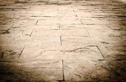 Fondo de la perspectiva: Piso de piedra de la perspectiva del ladrillo de la arena, texto Fotos de archivo
