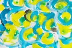 Fondo de la pintura de la salpicadura del akvarel del Grunge, amarillo, chartreuse, bl Fotografía de archivo libre de regalías