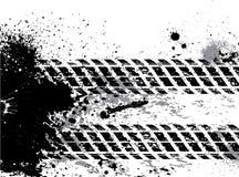 Fondo de la pista del neumático de Grunge con las manchas blancas /negras Imagen de archivo