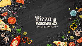 Fondo de la pizarra del menú de la pizza ilustración del vector