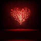 Fondo de la placa de circuito del vector con el corazón. Fotos de archivo