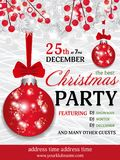 Fondo de la plantilla de la invitación de la fiesta de Navidad con Br del blanco del abeto Imágenes de archivo libres de regalías