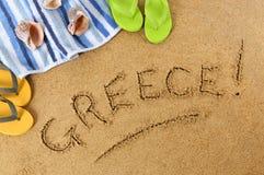 Fondo de la playa de Grecia Fotos de archivo libres de regalías