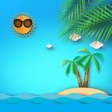 Fondo de la playa, del mar y de la isla del verano con el árbol de coco libre illustration