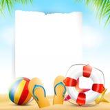 Fondo de la playa del verano con el papel vacío Fotografía de archivo