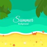 Fondo de la playa del verano en diseño plano libre illustration