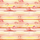 Fondo de la playa del verano Modelo inconsútil de la acuarela Adorno tropical pintado a mano del verano con el flamenco y la raya Foto de archivo libre de regalías