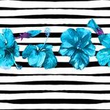 Fondo de la playa del verano Modelo inconsútil de la acuarela Adorno tropical pintado a mano del verano con el hibisco y la raya Fotos de archivo