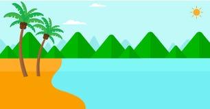 Fondo de la playa y del mar tropicales Foto de archivo libre de regalías