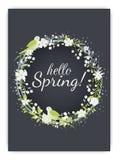 Fondo de la primavera con la flor colorida hermosa Plantilla del ejemplo del vector banderas wallpaper stock de ilustración