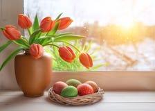 Fondo de la primavera con la hierba y los tulipanes en el tablero de ventana en un sol Fotografía de archivo