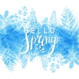 Fondo de la primavera con las hojas azules Imagen de archivo