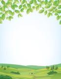Fondo de la primavera con paisaje y la frontera de las hojas libre illustration