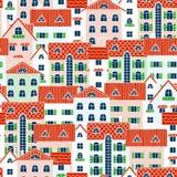 Fondo de la primavera de casas Imagen de archivo libre de regalías