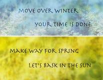 Fondo de la primavera del invierno con el texto Foto de archivo