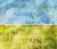 Fondo de la primavera del invierno con el texto Imagenes de archivo