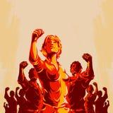 Fondo de la propaganda del cartel de la revolución de la protesta de la muchedumbre ilustración del vector