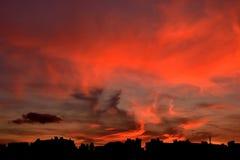 Fondo de la puesta del sol de la forma de la ciudad Foto de archivo libre de regalías