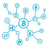 Fondo de la red de Bitcoin Foto de archivo