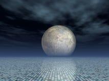 Fondo de la red de la matriz con la Luna Llena ilustración del vector