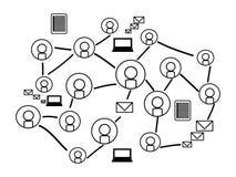 Fondo de la red social con los iconos de la silueta Fotografía de archivo libre de regalías
