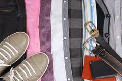 Fondo de la ropa y de los accesorios Fotografía de archivo