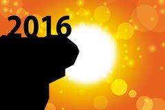 fondo de la salida del sol de la tarjeta de la Feliz Año Nuevo 2016 Fotos de archivo