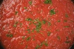 Fondo de la salsa de tomate Foto de archivo libre de regalías