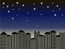 Fondo de la serie de la ciudad Edificios negros, cielo azul marino, noche estrellada, vector Foto de archivo