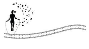 Fondo de la silueta con ejercicio de la comba Imagen de archivo