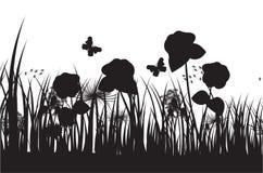 Fondo de la silueta de la hierba del vector Imagen de archivo