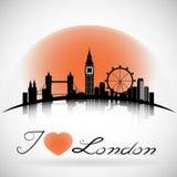 Fondo de la silueta del horizonte de la ciudad de Londres con diseño tipográfico Vector Eps10 Foto de archivo libre de regalías